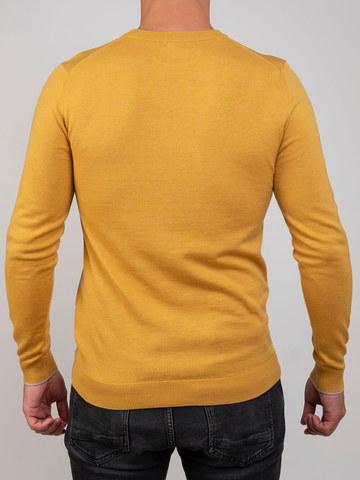 Мужской джемпер желтого цвета из шерсти и шелка - фото 4