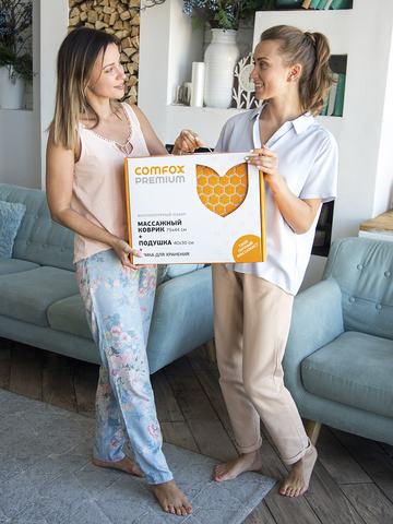 Набор массажный акупунктурный коврик + подушка Comfox Premium (оранжевый)