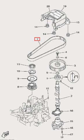 Ремень ГРМ для лодочного мотора F9,9 Sea-PRO (8-7)