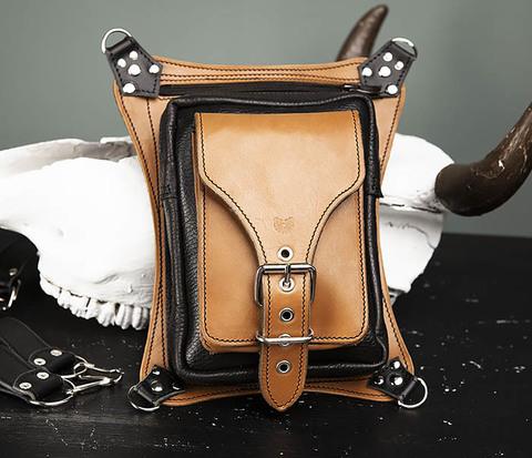 Крутая мужская сумка на бедро из натуральной кожи, ручная работа
