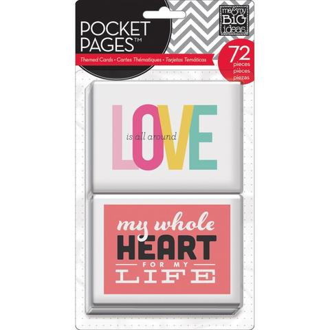 Набор карточек для Project life - Me & My Big Ideas Pocket Pages Themed Cards - Love72 шт