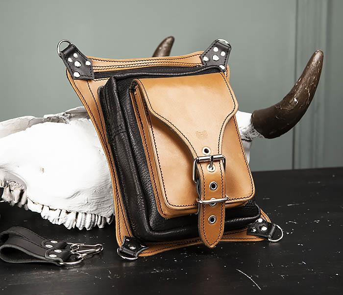BAG369-6 Крутая мужская сумка на бедро из натуральной кожи, ручная работа фото 02