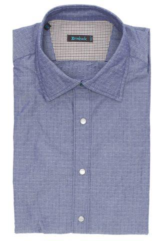 Светло-фиолетовая рубашка со стеклянными белыми пуговицами-кнопками и шикарной верхней голубой