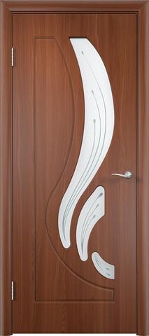Дверь Сибирь Профиль Лилия, цвет итальянский орех, остекленная