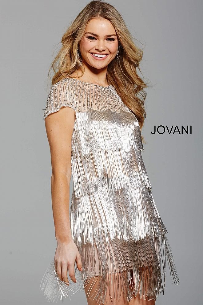 Jovani 61709 платье с бахромой, короткое, игривое. Застежка: потайная молния сзади