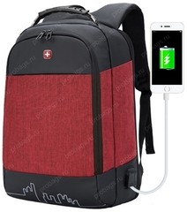 Рюкзак антивор SWISSWIN 7008 USB Красный