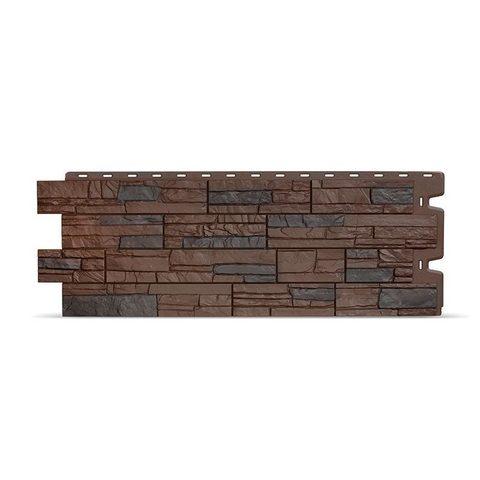 Фасадная панель Деке Камень 1098х400 мм Темный орех