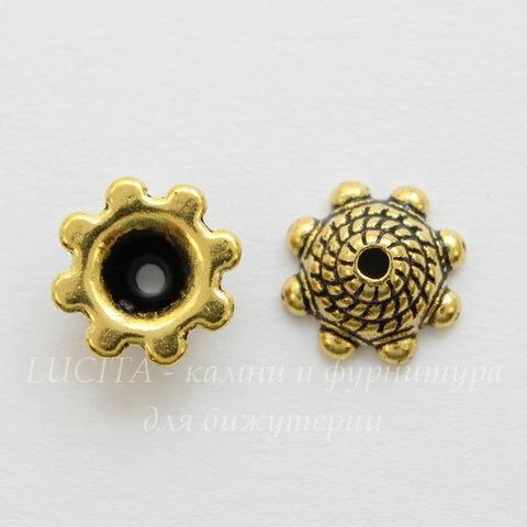 """Шапочка для бусины """"Плетенка"""" 8х3 мм (цвет - античное золото), 10 штук"""