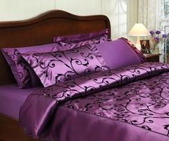 Постельное белье ASMARA фиолетовый сатин шелк с флоком TIVOLYO HOME Турция