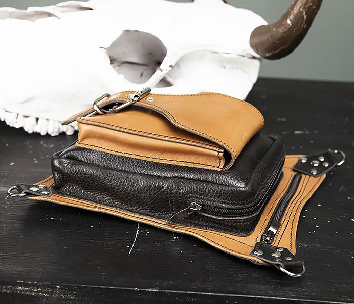 BAG369-6 Крутая мужская сумка на бедро из натуральной кожи, ручная работа фото 04
