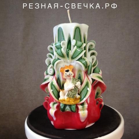 Резная свеча Символ года красно-зеленая