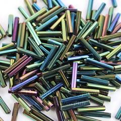 59155 Бисер Preciosa стеклярус граненый 11х2 мм, Ирис сине-зеленый