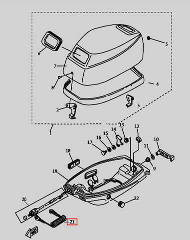 Трос аварийной остановки двигателя для лодочного мотора T9.8 Sea-PRO (1-21)