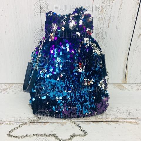 Сумка-мешок с пайетками меняющая цвет Сине-Фиолетово-Серебристый