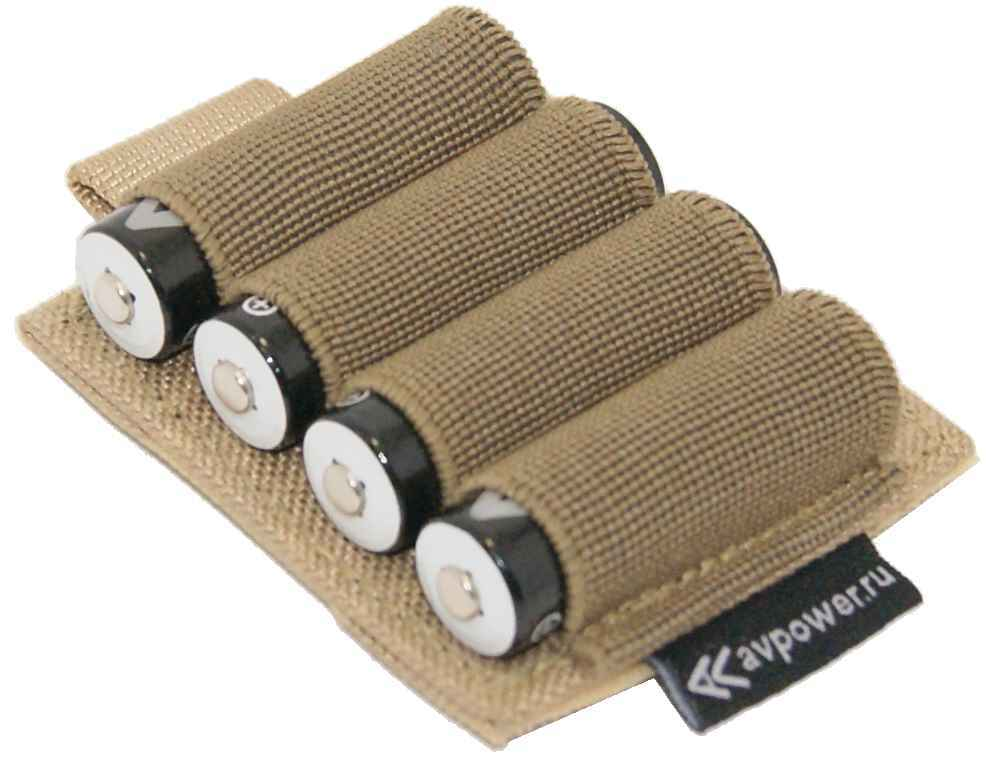 Холдер для аккумуляторов на 4 аккумулятора на контактной ленте (велкро)