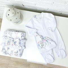 Летний комплект «Зайчишка» с поясом, белый комбинезон