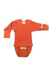 Боди/кофта с длинным рукавом ManyMonths, Оранжевый (шерсть мериноса 100%)