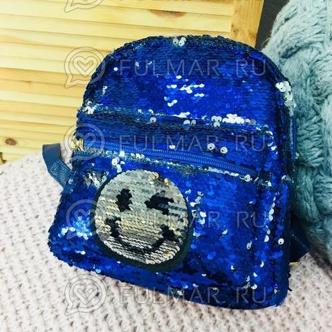 Рюкзак с пайетками с двусторонними пайетками нашивкой Смайлик меняет цвет Синий-Серебристый