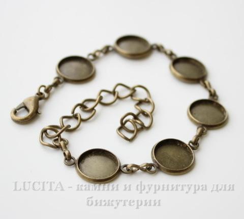 Основа для браслета с 6 сеттингами для кабошона 12 мм, 25 см (цвет - античная бронза)