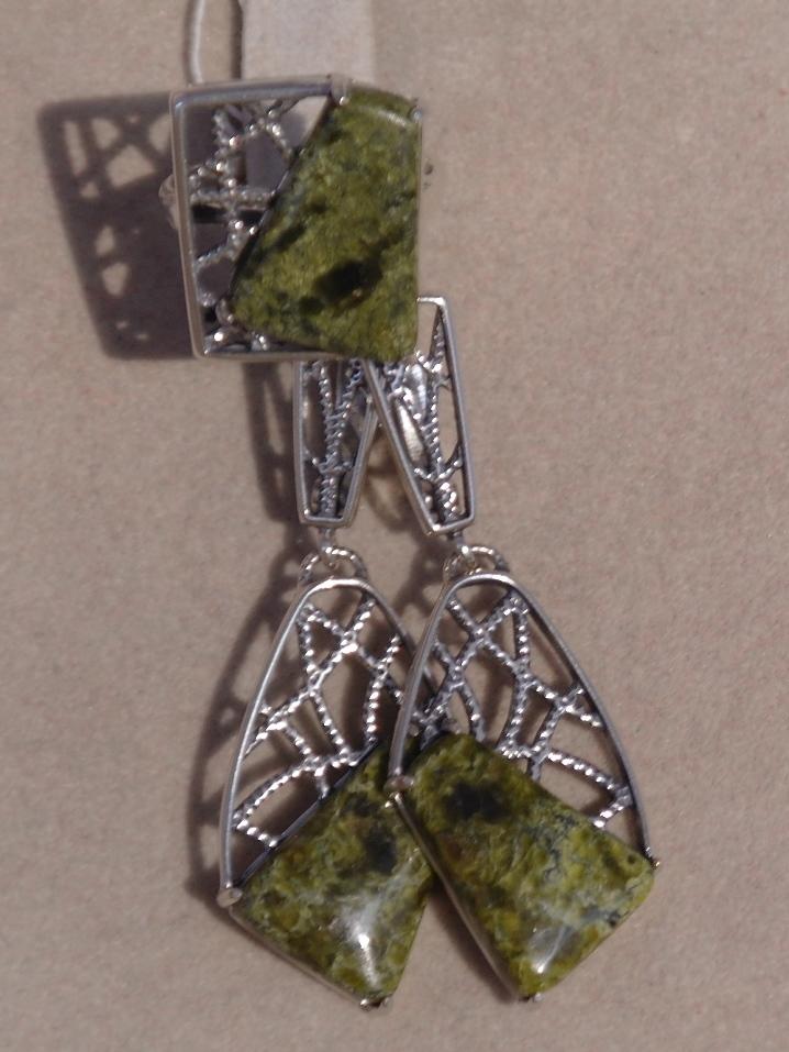 Гленда (кольцо + серьги из серебра)
