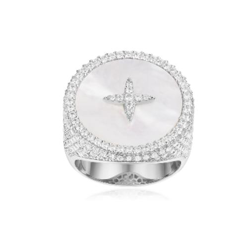 Кольцо круглое из серебра с перламутром от APM MONACO