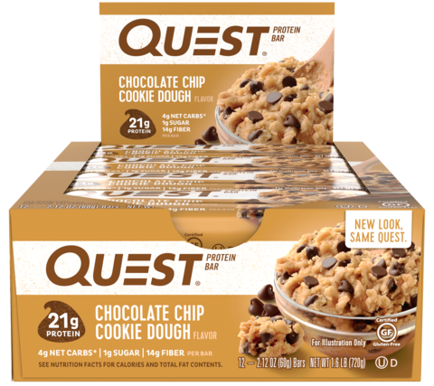 Quest Nutrition Quest Protein Bar Chocolate Chip Cookie Dough (Печенье с кусочками шоколада),1 шт