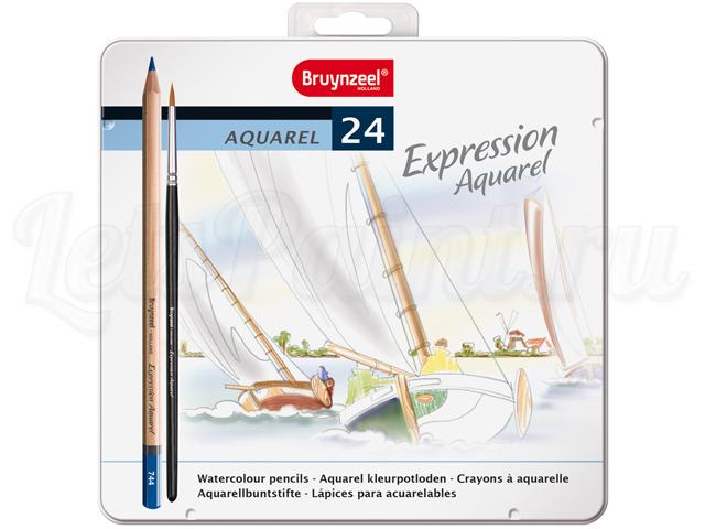 Набор из 24 акварельных карандашей Bruynzeel Expression Aquarel в метал. кор. + кисть
