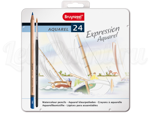 Набор из 24 акварельных карандашей Bruynzeel Expression Aquarel + кисть