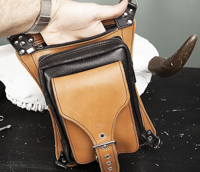 BAG369-6 Крутая мужская сумка на бедро из натуральной кожи, ручная работа фото 07