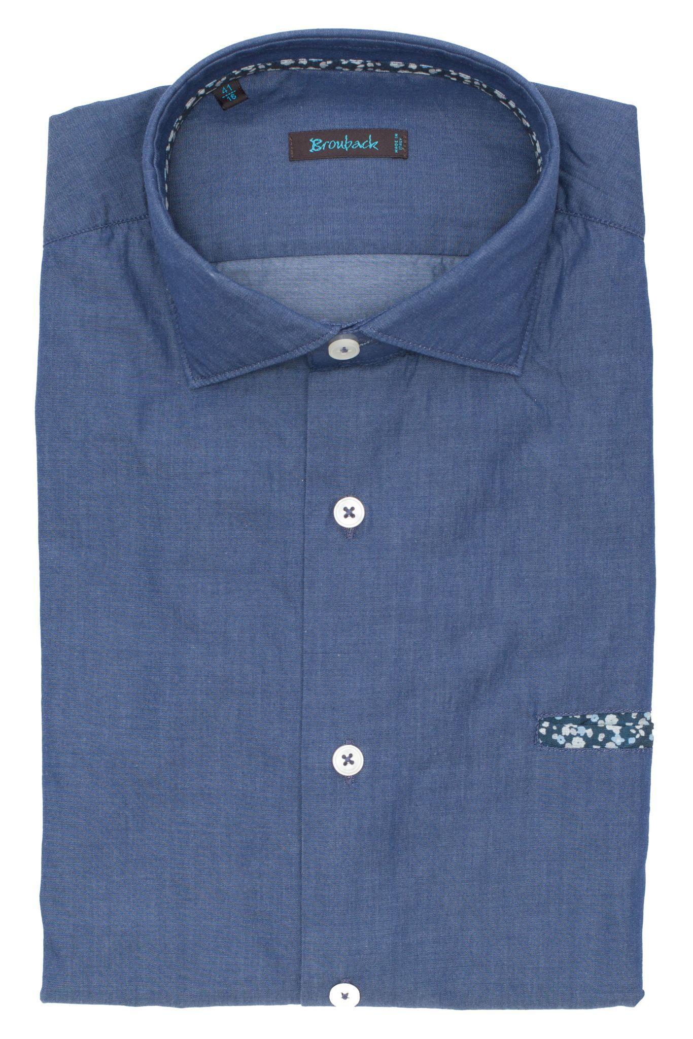 Синяя рубашка со втачным карманом в цветочек
