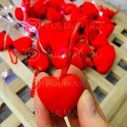 Изделие декоративное сердце на ленточке высота 3 см (набор 36 штук)