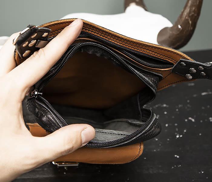 BAG369-6 Крутая мужская сумка на бедро из натуральной кожи, ручная работа фото 08