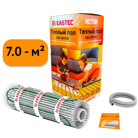 Электрический теплый пол под плитку. Нагревательный мат Eastek ECM - 7.0. (7.0 кв.м/1120W). EASTEC ECM - 7,0