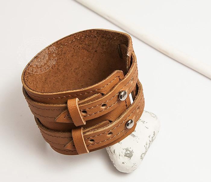 BL391-2 Широкий браслет ручной работы из натуральной кожи. «Boroda Design» фото 03