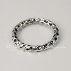 Коннектор - кольцо с узором 24 мм (цвет - античное серебро)