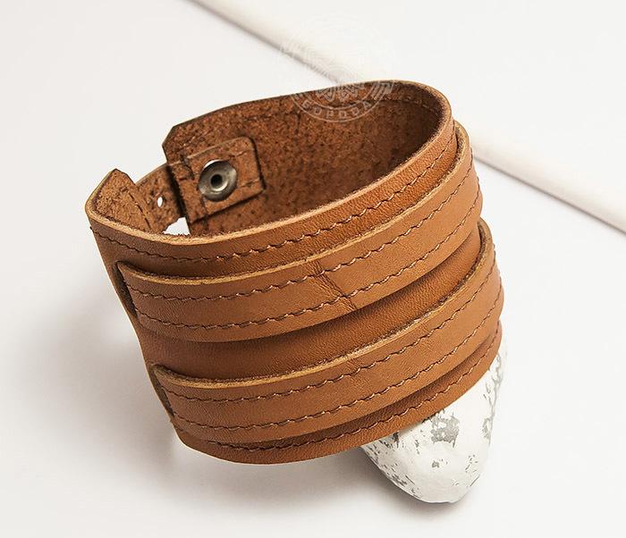 BL391-2 Широкий браслет ручной работы из натуральной кожи. «Boroda Design» фото 04