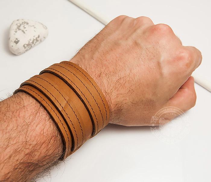 BL391-2 Широкий браслет ручной работы из натуральной кожи. «Boroda Design» фото 06