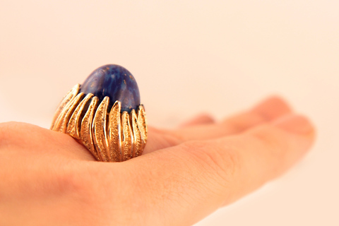 Роскошное крупное серебряное кольцо с кабошоном под лазурит от Panetta