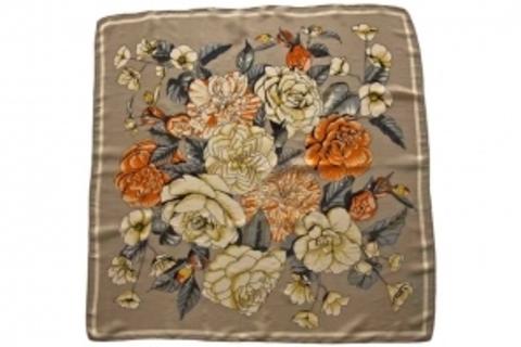 Итальянский платок из шелка серо-коричневый с цветами 0276