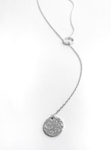 Cеребряное колье-галстук с медальоном и кольцом