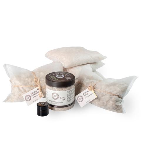Набор Иммунитет: Самая соль в фильтр-пакетах, 30 кг; Купаж Эвкалипт, банка, 600 г. Купаж с Липой, фильтр-пакет, 1000 г; Купаж с Ромашкой, фильтр-пакет, 1000 г; Мазь противопростудная, баночка, стекло, 10 мл