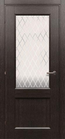 Дверь Краснодеревщик ДО 3324, цвет чёрный дуб, остекленная