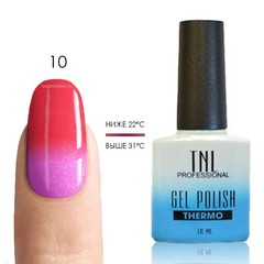TNL, Термо гель-лак № 10 - малиновый/пурпурный (с перламутром), 10 мл