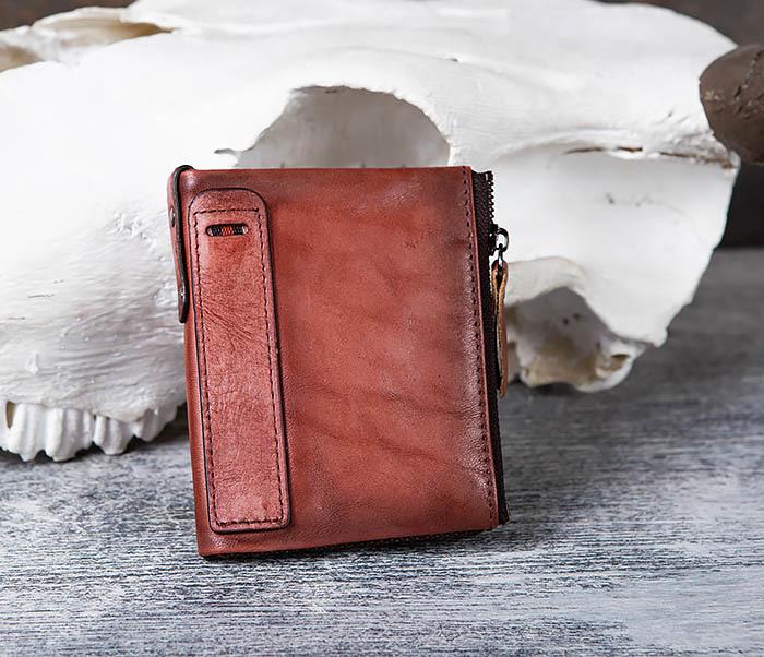 WL302-3 Мужской красный кошелек с отделениями на молнии