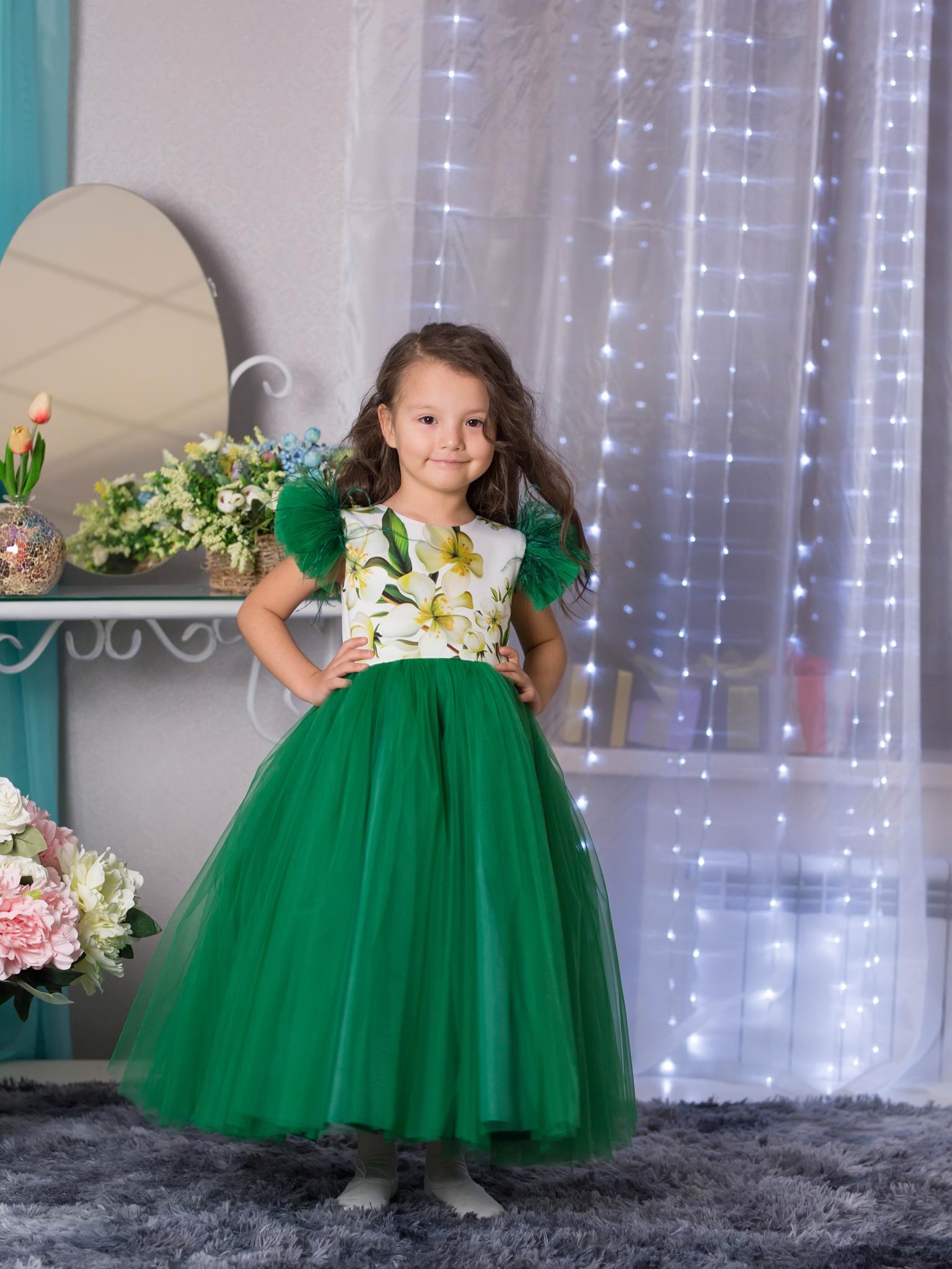 66e88c5ee89 Зеленое нарядное платье (Арт.1916 зел)– купить в интернет-магазине ...