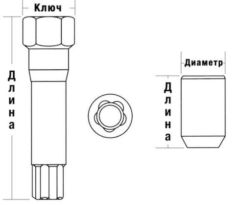 Гайка колёсная М12x1.25 длина=32мм внутренний 10-гранник конус хром