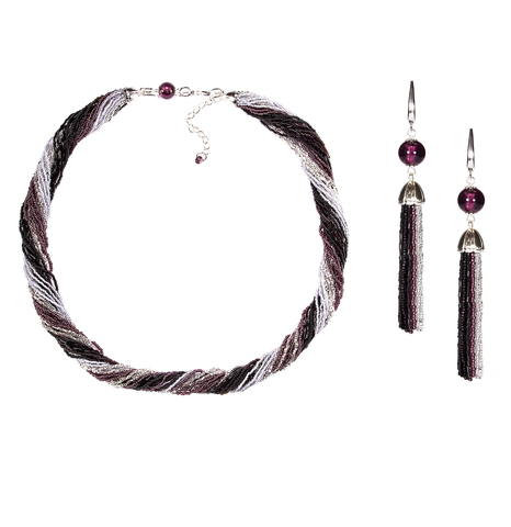 Комплект украшений черно-фиолетовый (длинные серьги из бисера, бусы из бисера 24 нити)
