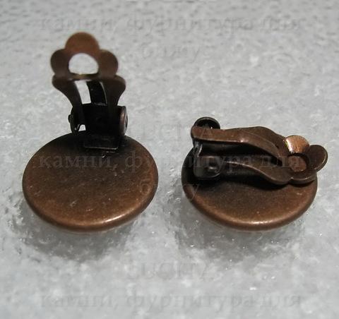 Основы для клипс с сеттингом для кабошона 14 мм (цвет - античная медь) ()