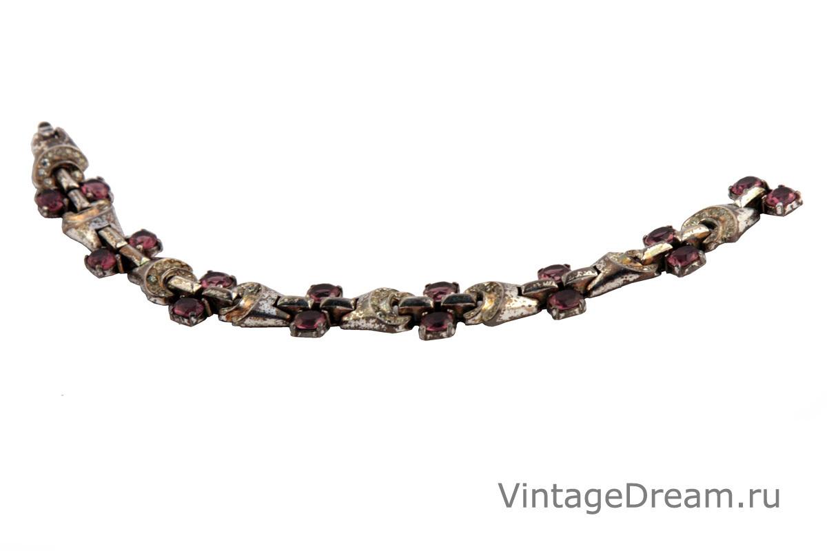 Элегантный серебряный браслет с кристаллами под аметист от Trifari, 40-е гг.