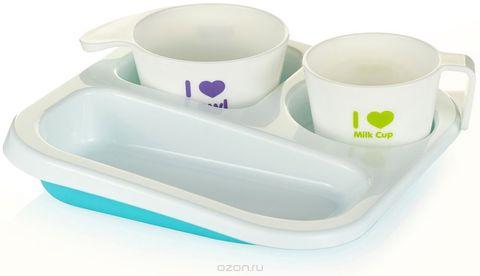 Набор посуды. Поднос-тарелка, стакан, суповница 12+, голубой